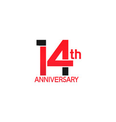 14 years anniversary logotype with black and red vector