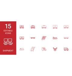 15 shipment icons vector image
