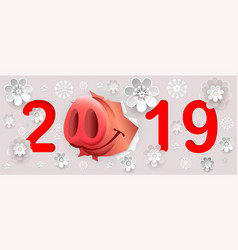 2019 year of pig on chinese calendar vector