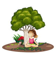 A girl doing yoga under the tree vector image