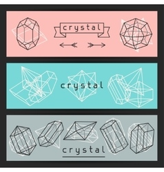 Abstract banners with geometric crystals and vector image