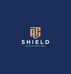 Ac letter shield icon vector