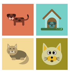 assembly flat icons dog cats pets vector image