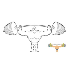 Athlete barbell coloring book Bodybuilder harvests vector image