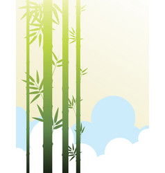 background template with bamboo in the clouds vector image