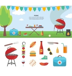 Banner and icons of picnic items holiday concept vector