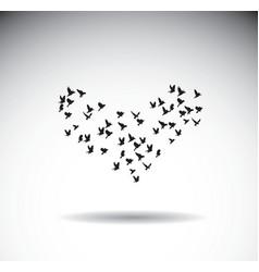 birds silhouette isolate shape heart love symbol vector image