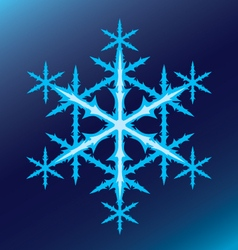blue six-pointed snowflake on a blue background vector image