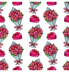 Bouquet and gift box seamless pattern vector image
