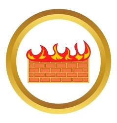 Brick wall on fire icon vector image