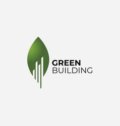 building with green leaf symbol logo design vector image