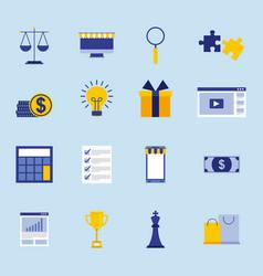 business concept set money devices puzzle report vector image