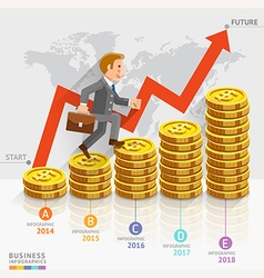 Businessman running on gold coins money stack vector