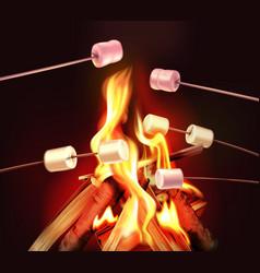 Campfire realistic poster vector