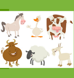 Cartoon farm animals collection vector