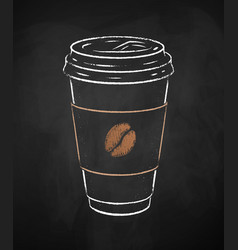 coffee paper cup on chalkboard background vector image