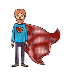 color crayon stripe cartoon full body super dad vector image vector image