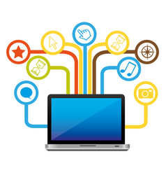computer with technological sign icon vector image