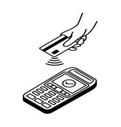 Contactless payment outline icon vector