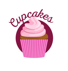 cupcake with pink sweet cream vector image