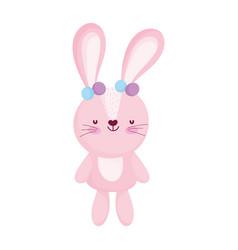 cute bunny ears decoration animal cartoon vector image