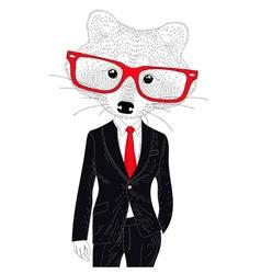 Cute cheerful fashion raccoon in suit Hand drawn vector