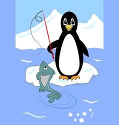 Cute penguin fishing on ice floe penguin cartoon vector