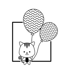Cute tiger with balloons helium and frame vector