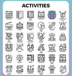 daily activities concept detailed line icons vector image