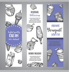 dairy sweet banners collection hand drawn vector image