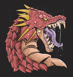 dragon head red vector image