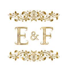 E and f vintage initials logo symbol vector