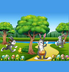 Easter background with bunnies and baby chick on t vector
