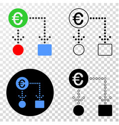 euro cash flow eps icon with contour vector image