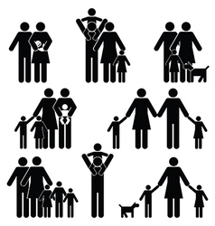Family silhouette collection vector image
