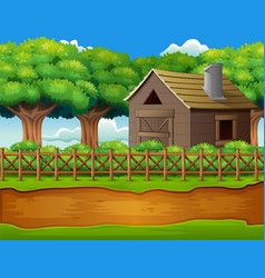 farm landscape with shed and green plants vector image
