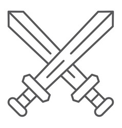 fighting thin line icon game and play crossed vector image