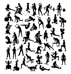 Fitness and gym sport silhouettes vector