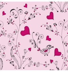 Floral hearts pattern vector