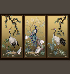 folding screen in chinoiserie style with white vector image