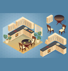 fragment of the interior with detailed isometric vector image