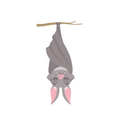 funny bat hanging upside down on tree branch vector image