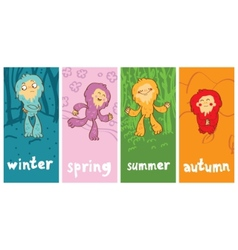 Funny monster in different seasons vector