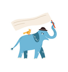 funny protesting elephant with bird holding flag vector image