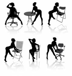 girls with armchairs vector image