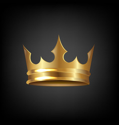 Golden crown isolated black background vector