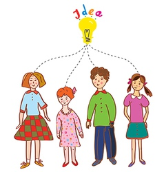 Group of children with idea bulb vector image