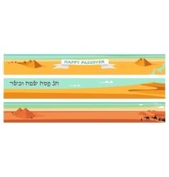Happy and kosher passover in hebrew jewish vector