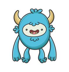 Happy yeti cartoon furry creature monster vector