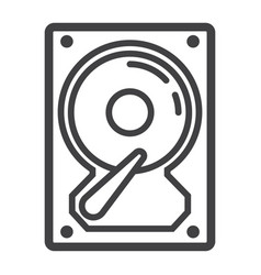 Hard disk line icon hardware and hdd vector